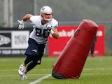 Danny Amendola #80 completes a drill during the first day of New England Patriots Training Camp at Gillette Stadium on July 26, 2013