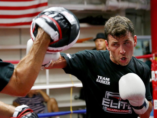 Darren Barker of England trains for his middleweight bout against Daniel Geale of Australia at the Mendez Boxing Gym on August 12, 2013