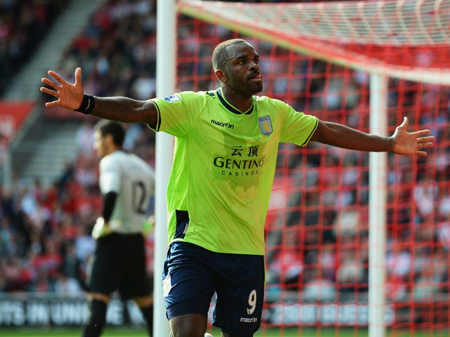 Darren Bent of Aston Villa celebrates after scoring during the Barclays Premier League match between Southampton and Aston Villa at St Mary's Stadium on September 22, 2012