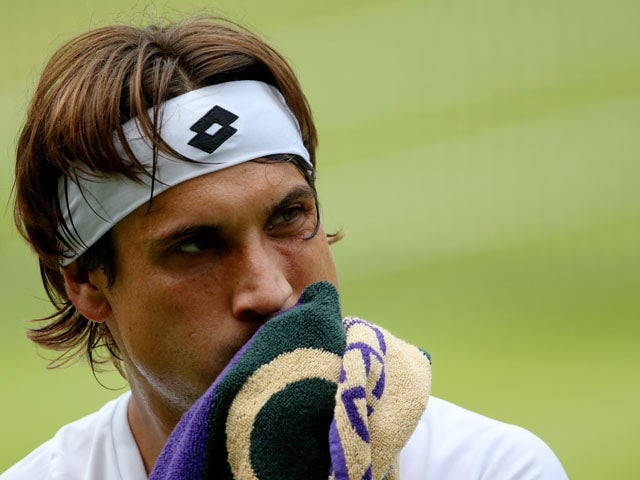 David Ferrer of Spain wipes his face with a towel during the Gentlemen's Singles quarter-final match against Juan Martin Del Potro on July 3, 2013