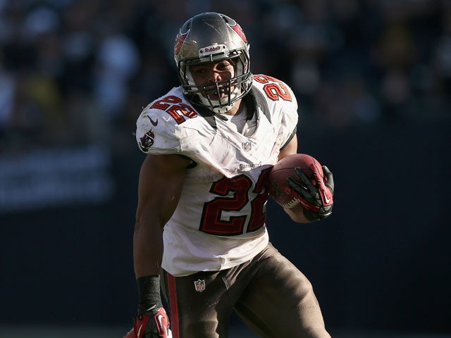 Doug Martin #22 of the Tampa Bay Buccaneers in action against the Oakland Raiders at O.co Coliseum on November 4, 2012