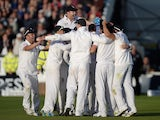 England celebrate winning the Ashes at Chester-le-Street on August 12, 2013