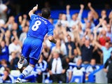 Chelsea's Frank Lampard celebrates after scoring a free kick against Hull on August 18, 2013