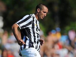 Juventus' Giorgio Chiellini in action against Juventus B during a friendly match on August 11, 2013