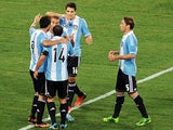 Gonzalo Higuain of Argentina celebrates after scoring the opening goal during the international friendly match between Italy v Argentina at Stadio Olimpico on August 14, 2013