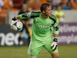 Jack Butland of Stoke City is seen in goal against the Houston Dynamo during the Dynamo Charities Cup at BBVA Compass Stadium on July 24, 2013