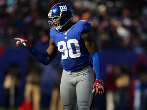 Jason Pierre-Paul #90 of the New York Giants in action during their game against the Philadelphia Eagles at MetLife Stadium on December 30, 2012