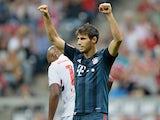 Bayern Munich's Javi Martinez celebrates after scoring in a friendly match against Sao Paulo on July 31, 2013