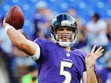 Baltimore Ravens' Joe Flacco during a warm up on August 15, 2013