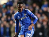 John Obi Mikel of Chelsea in action during the UEFA Europa League Round of 32 second leg match between Chelsea and Sparta Praha at Stamford Bridge on February 21, 2013