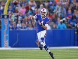 Kevin Kolb #4 of the Buffalo Bills throws against the Minnesota Vikings at Ralph Wilson Stadium on August 16, 2013