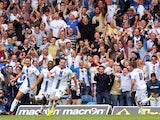 Leeds United's Ross McCormack celebrates his equaliser during the Sky Bet Championship match between Leeds United and Sheffield Wednesday at Elland Road on August 17, 2013