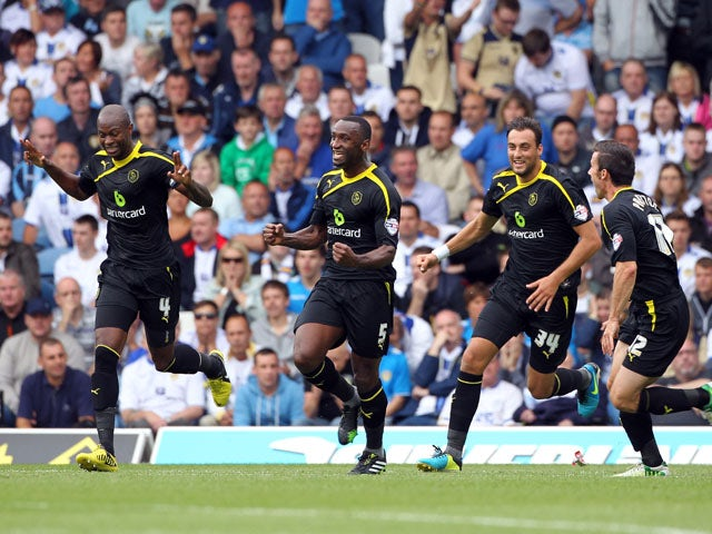 Sheffield Wednesday's Kamil Zayatte celebrates the opening goal during the Sky Bet Championship match between Leeds United and Sheffield Wednesday at Elland Road on August 17, 2013