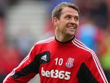 Michael Owen of Stoke City warms up for the Barclays Premier League match between Southampton and Stoke City at St Mary's Stadium on May 19, 2013