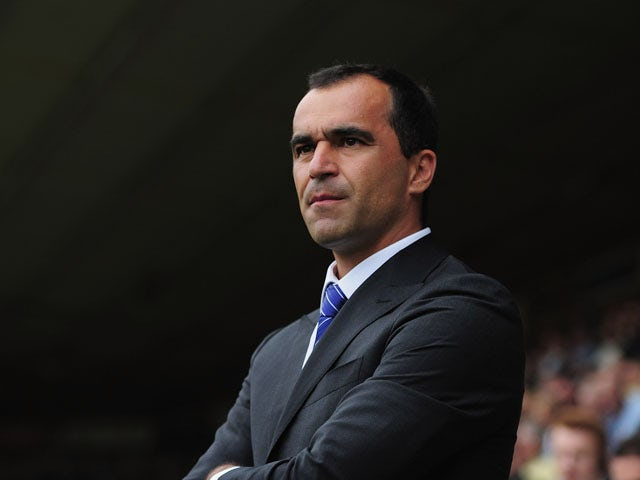Roberto Martinez of Everton looks on during the Barclays Premier League match between Norwich City and Everton at Carrow Road on August 17, 2013