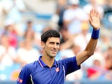 Novak Djokovic of Serbia acknowledges the crowd after his win over David Goffin of Belgium during the Western & Southern Open on August 15, 2013