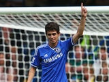 Chelsea's Oscar celebrates scoring the opening goal against Hull on August 18, 2013