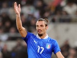 Pablo Osvaldo playing for Italy against Uruguay on November 15, 2011