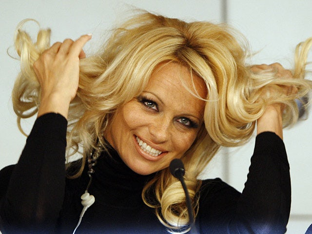 Actress and model Pamela Anderson during a press conference on March 14, 2008
