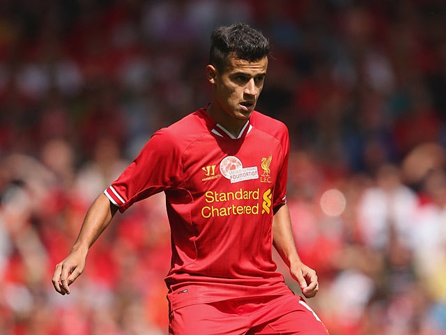 Liverpool's Philippe Coutinho in action against Olympiacos during a friendly match on August 3, 2013