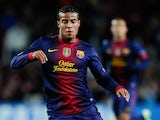 Barcelona's Rafinha in action against Benfica in the Champions League on December 5, 2012