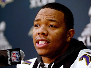 Ray Rice #27 of the Baltimore Ravens addresses the media during Super Bowl XLVII Media Availability at the Hilton New Orleans Riverside on January 30, 2013