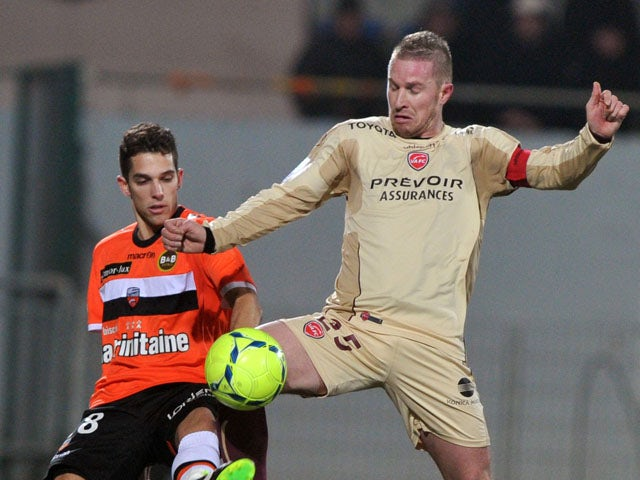 Valenciennes' French defender Rudy Mater battles for the ball on March 2, 2013