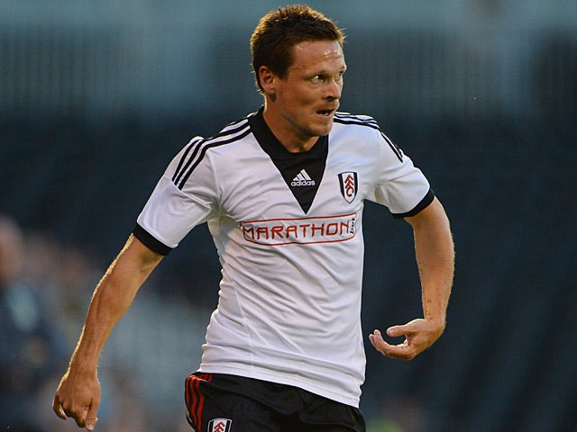 Fulham's Sascha Riether in action against Real Betis during a friendly match on August 5, 2013