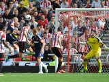 Pajtim Kasami of Fulham scores the opening goal during the Barclays Premier League match between Sunderland and Fulham at the Stadium of Light on August 17, 2013