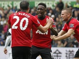 Manchester United's English striker Danny Welbeck celebrates scoring his team's second goal during the English Premier League football match between Swansea City and Manchester United at Liberty Stadium in Swansea, south Wales, on August 17, 2013