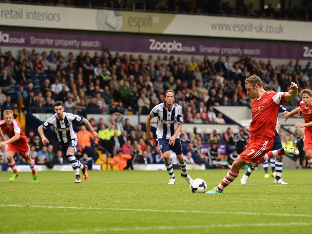 Rickie Lambert of Southampton scores the winning goal from the penalty spot during the Barclays Premier League match between West Bromwich Albion and Southampton at The Hawthorns on August 17, 2013
