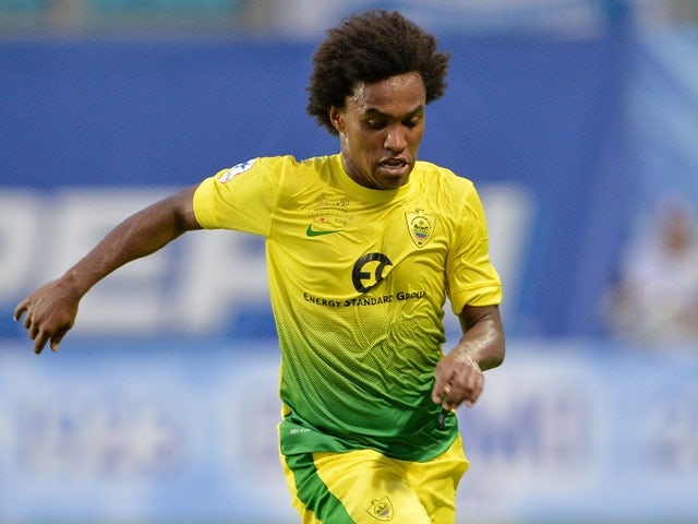 Willian of FC Anzhi Makhachkala in action during the Russian Premier League match between FC Dinamo Moscow and FC Anzhi Makhachkala at the Arena Khimki Stadium on July 19, 2013