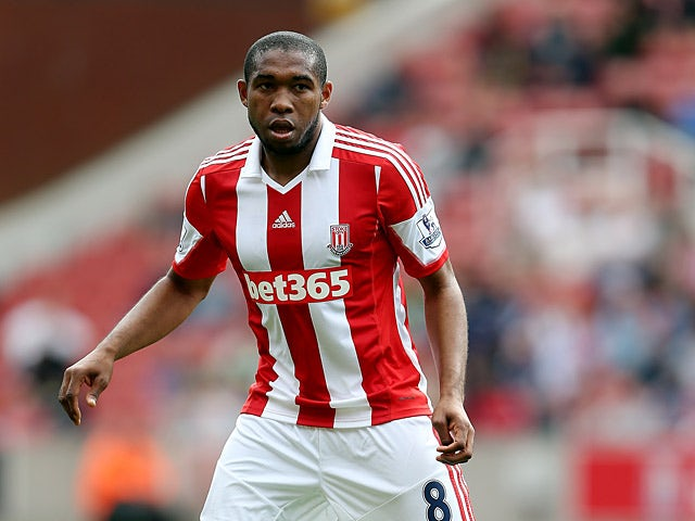 Stoke's Wilson Palacios in action against Genoa during a friendly match on August 10, 2013
