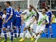 Wolfsburg's Portuguese striker Vieirinha celebrates scoring during the German first division Bundesliga football match VfL Wolfsburg vs FC Schalke 04 in Wolfsburg, central Germany, on August 17, 2013