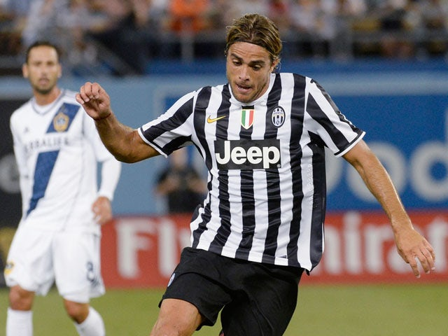 Alessandro Matri #32 of Juventus in action against Los Angeles Galaxy during 2013 Guinness International Champions Cup soccer match at Dodger Stadium on August 3, 2013