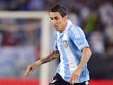 Angel Di Maria of Argentina in action during the international friendly match between Italy v Argentina at Stadio Olimpico on August 14, 2013