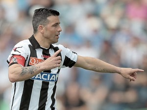 Udinese skipper Antonio Di Natale in action against Inter on May 12, 2013
