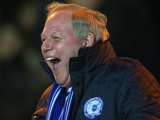 Peterborough United Director of Football, Barry Fry enjoys a joke before the npower Championship match between Peterborough United and Charlton Athletic at London Road Stadium on March 5, 2013