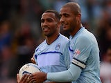Coventry's Callum Wilson is congratulated by team mate Leon Clarke after scoring against Preston on August 25, 2013