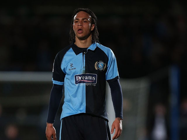 Charles Dunne of Wycombe Wanderers in action during the npower League Two match between Wycombe Wanderers and Northampton Town at Adams Park on April 16, 2013