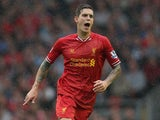 Daniel Agger of Liverpool in action during the Barclays Premier League match between Liverpool and Stoke City at Anfield on August 17, 2013