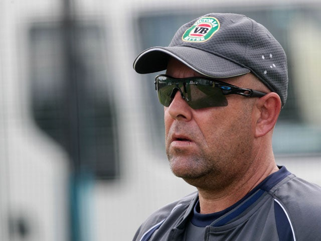 Australia coach Darren Lehmann oversees an official team training session ahead of the fourth Ashes cricket Test match between England and Australia at the Riverside stadium in Chester-le-Street, north-east England on August 8, 2013