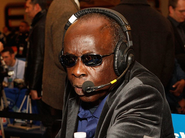 Deacon Jones commentating in a live broadcast during the Super Bowl XLVI Week on February 3, 2012