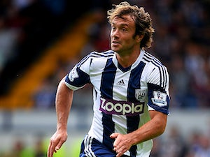 West Brom's Diego Lugano in action during a friendly match against Bologna on August 10, 2013