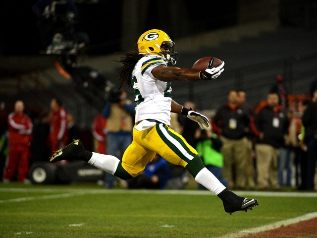 Running back DuJuan Harris #26 of the Green Bay Packers runs the ball in for a touchdown against the San Francisco 49ers in the second quarter during the NFC Divisional Playoff Game at Candlestick Park on January 12, 2013