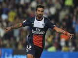 PSG striker Ezequiel Lavezzi celebrates a goal against Nantes on August 25, 2013