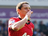 United forward Javier Hernandez celebrates a goal against West Brom on May 19, 2013