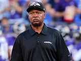 Baltimore Ravens offensive coordinator Jim Caldwell watches warm ups before the start of a preseason game against the Atlanta Falcons at M&T Bank Stadium on August 15, 2013