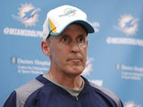 Head coach Joe Philbin of the Miami Dolphins talks to the media following the rookie camp on May 3, 2013