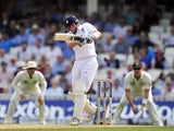 England's Joe Root makes his half century during the third day of the fifth Ashes cricket test match between England and Australia at the Oval in London on August 23, 2013